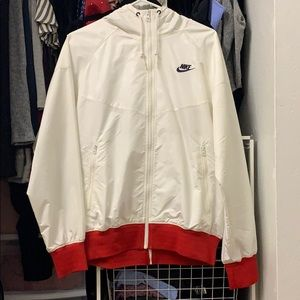 Nike windbreaker white red